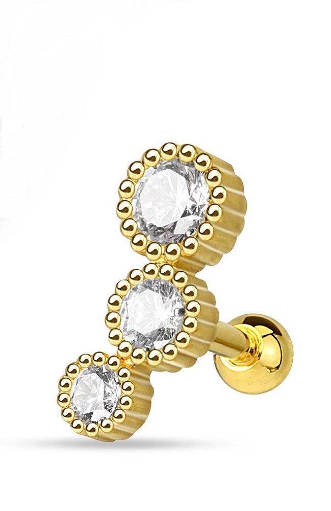 Modern Three Round CZ Set Freedom Fashion 316L Surgical Steel Cartilage/Tragus Barbell (Gold/Clear)