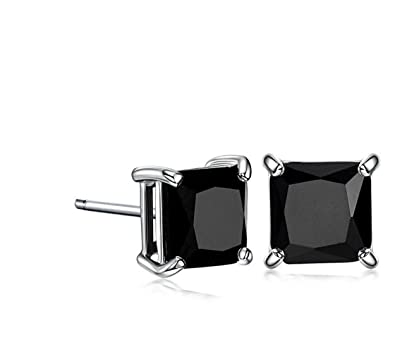1f15ad4c6e76a Surgical Stainless Steel Studs Earrings Men Women Square Princess Cut  Basket Setting Black Cubic Zirconia Hypoallergenic Earrings