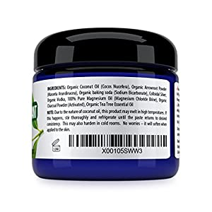 Kaiame Naturals Best Natural Deodorant (Tea Tree) with Activated Charcoal Powder, All Natural and Organic Ingredients, Aluminum Free, Parabens Free, Phthalates Free