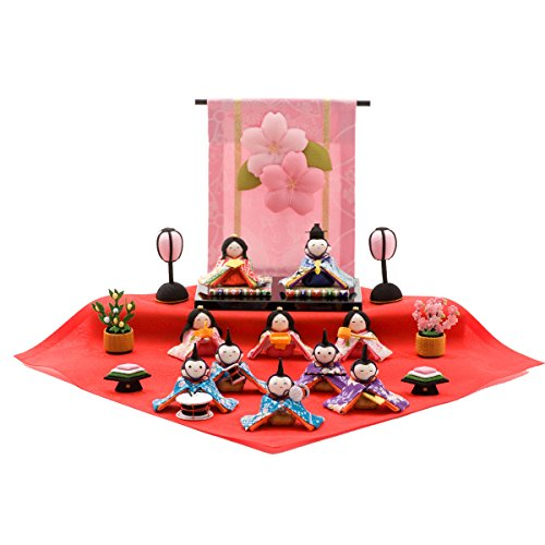 FUN fun Japanese Kimono Dolls Hina Ningyo Set Small Traditional Figurines Compact Warabe 10pcs w/Flower Screen