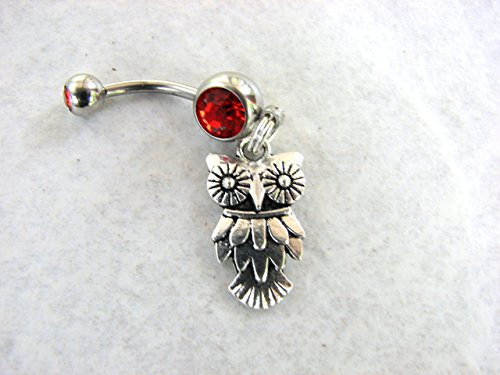 Owl Belly Piercing Ring, Your choice of Colors Stainless Steel Belly Button (Crystal Belly Owl)