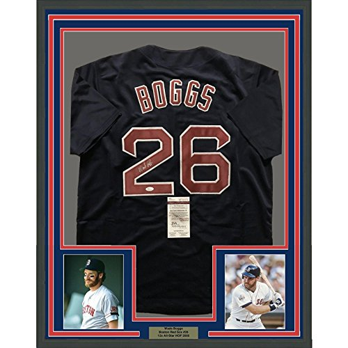 Wade Boggs Signed Jersey - FRAMED 33x42 Blue COA - JSA Certified - Autographed MLB Jerseys (Wade Autographed Boggs Jersey)