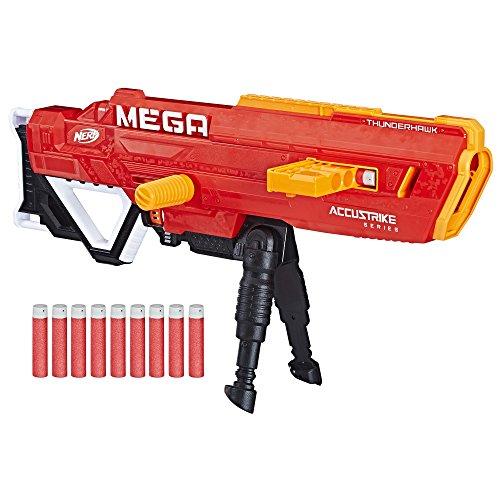 Thunderhawk Nerf AccuStrike Mega Toy Blaster - Longest Nerf Blaster - 10 Official AccuStrike Nerf Mega Darts, 10-Dart Clip, Bipod - For Kids, Teens, and Adults (The Best Mega Nerf Gun)