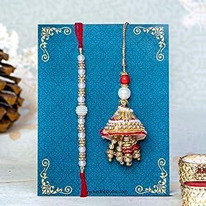 TIED RIBBONS Rakhi with Lumba Set and Special Card for Bhaiya Bhabhi and Rakshabandhan (Multicolour)