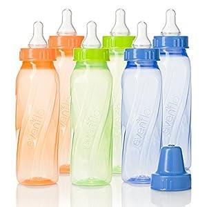 Evenflo Feeding Classic Twist Tinted Bottles, Green/Blue/Orange, 8 Ounce (Pack of 12)
