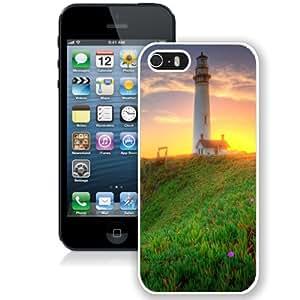NEW Unique Custom Designed iPhone 5S Phone Case With Lighthouse Green Coast Sunrise_White Phone Case