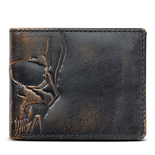 (House of Jack Co. SKULL Wallet-Double ID Bifold-Full Grain Mens Leather Wallet-Multi Card Capacity)