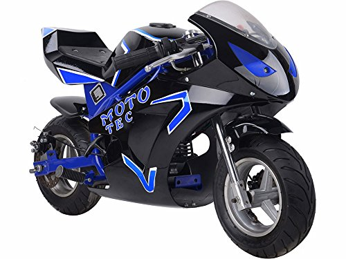 MotoTec Gas Pocket Bike GT 49cc 2-Stroke, Non Califonia Compliant, Blue