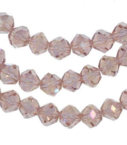 Peach Crystal Glass Fancy Cut Beads Strand 8mm 15.5
