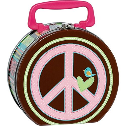 Hippie Chick Birthday Party Metal Box Favour (1 Piece), Pink / Brown, 6 1/4