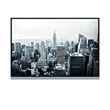 """Live Art Decor - Empire State Building Canvas Art with Black Floater Frame,Black and White New York City Picture Giclee Artwork,Home and Office Decor Cityscape Wall Art Shadow Box Frame-24""""x 36"""""""