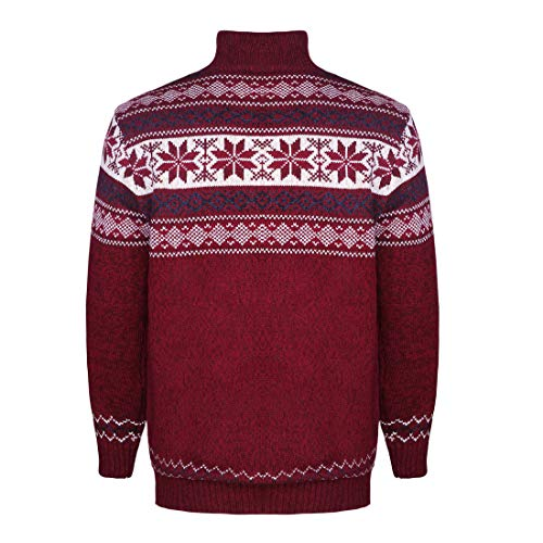 pull tricot hommes col montant épaissi Gwell Pull à molleton pour Cardigan rouge avec en glissière Jacquard en Cardigan HIpPEqZ