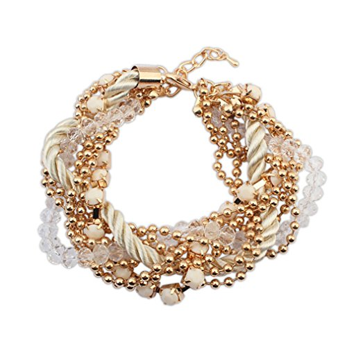 Adorable Woman New Fashion Jewelry Bohemian Multi Strand Hemp flowers Chunky Crystal Adjustable