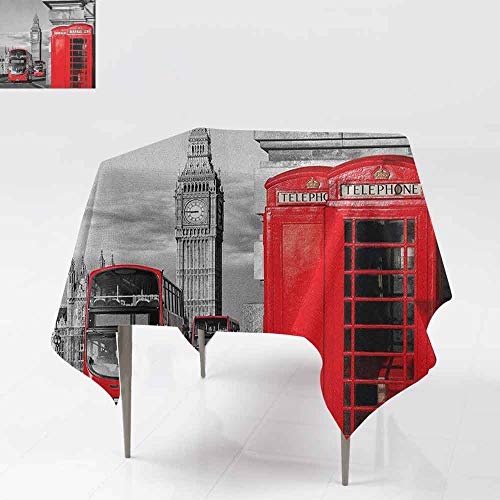 AndyTours Custom Tablecloth,London,London Telephone Booth in The Street Traditional Local Cultural Icon England UK Retro,for Events Party Restaurant Dining Table Cover,70x70 Inch Red Grey ()