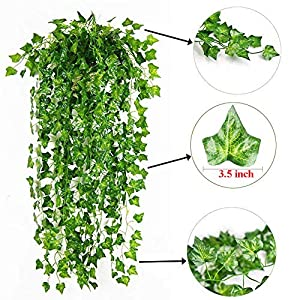 SHACOS 24 Strands Artificial Greenery Garland,Fake Vine Leaves Décor English Ivy Plants for Wedding Party Home Indoor Outdoor Decorations 7