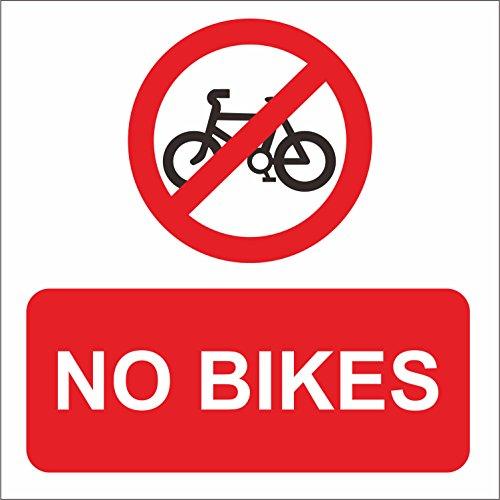 INDIGOS UG - Sticker - Safety - Warning - No Bikes Safety Sign Notice Sign 150mm x 150mm