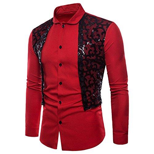 T Ihengh shirt Manches Pour Rouge Longues Homme À FwOSAqw