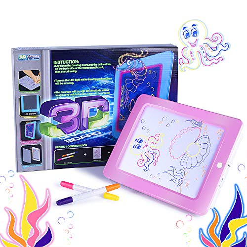 (Housedeco New Version Magic Pad,Light Up LED Board,Perfect for Draw,Sketch,Create,Doodle,Art,Write,Learning.Including 2 Fluorescent Pen 1 Board 1 Tablet 1 Double-Sided Paper Card (Pink))