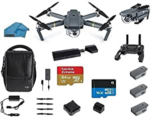 DJI Mavic PRO FLY MORE COMBO Portable Collapsible Mini Racing Drone with 3 Total Batteries, DJI Travel Bag + 64GB Sandisk Extreme SD Card + 3.0 Card Reader, Car Charger, Koozam Cleaning Cloth