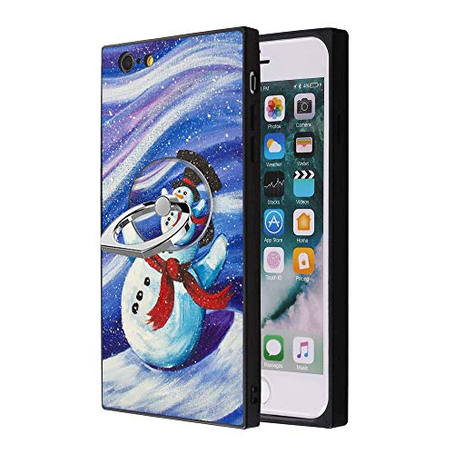 (iPhone 6s Plus 6 Plus Case with Grip Ring Holder Multi-Function Cover with Rotating Ring Holder Stand Snowman on Starry Night Phone Case for iPhone 6s Plus 6 Plus)