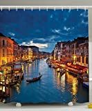 City Scene Shower Curtain Venice Deor Shower Curtain by Ambesonne, Venice City Beach Scenes Architecture of Italy Night Picture Artwork Prints, Polyester Fabric Bathroom Shower Curtain Set with Hooks, 69X70 Inches, Multicolor