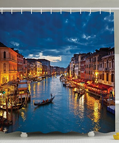 Venice Italy Photos - Ambesonne Venice Deor Shower Curtain by, Venice City Beach Scenes Architecture of Italy Night Picture Artwork Prints, Polyester Fabric Bathroom Shower Curtain Set with Hooks, 69X70 Inches, Multicolor