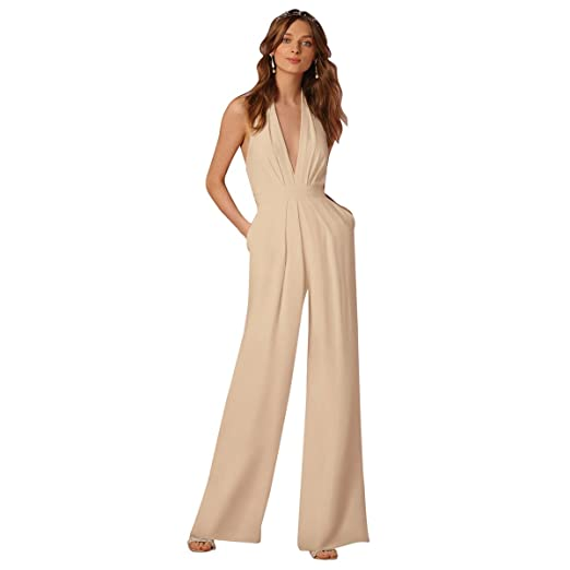 d5787e3aff5 Women s Sexy Jumpsuits Formal Sleeveless V-Neck Top Halter Wide Leg Long  Pants Retro One