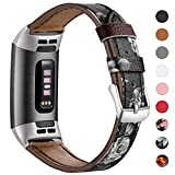 HUMENN Compatible for Fitbit Charge 3 Strap, Premuim Leather Bands Adjustable Replacement Wristband for Fitbit Charge3, Fitness Accessories for Men Women, Small Floral Black/Grey