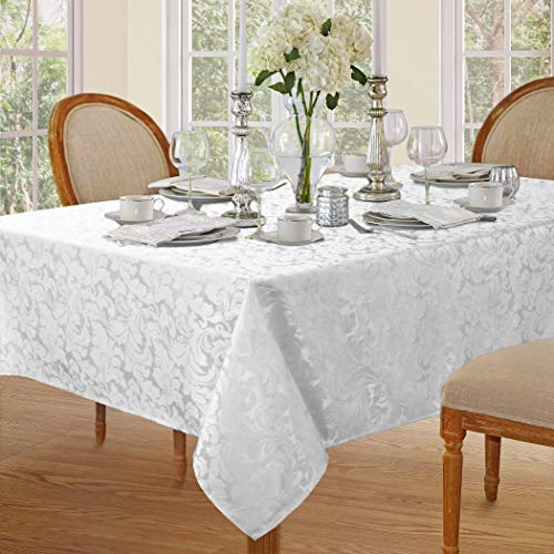 Lahome Elegant Damask Jacquard Tablecloth - Polyester Fabric Spillproof Water Resistant Washable Table Cover for Kitchen Dining Room Wedding Party Home Decor (White, Rectangle - 60