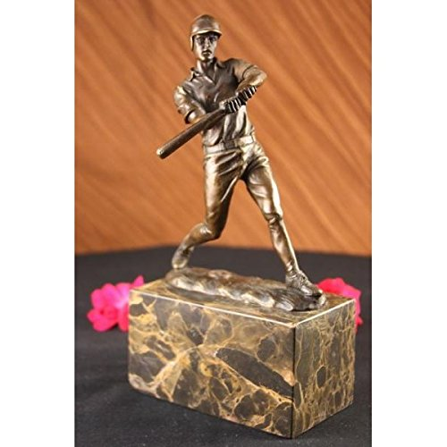 Stunning Solid Baseball Real Player Bronze Statue Sculpture Art Figurine Sports