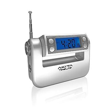 Akita Electronics TimeLite - Reloj Despertador Digital para Radio, Calendario y Linterna en 1