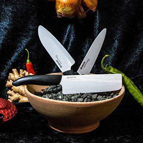 Kyocera Advanced Ceramic Revolution Series 6-inch, Chef's Santoku Knife, Black Handle, White Blade by Kyocera (Image #4)