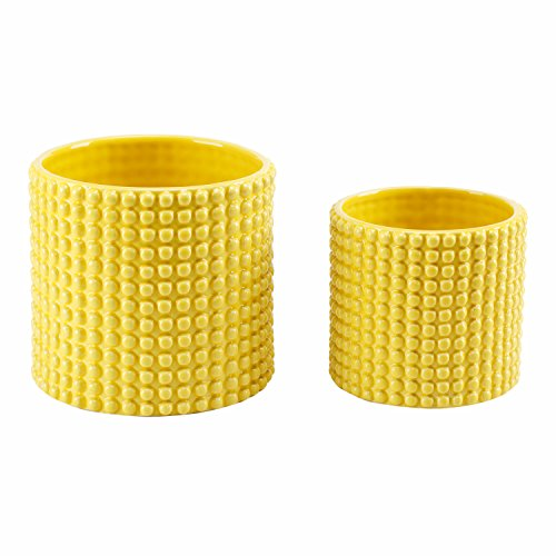 Set of 2 Hobnail Textured Ceramic Flower Pots, Vintage Style Succulent Planters, Yellow