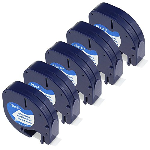 Dymo Plastic Labels (5 Pack Compatible DYMO LetraTag Tape 91331 (91201 91221 59422 S0721610) Black on White Plastic Label Tape (1/2 Inch x 13 Feet 12mm x 4m))