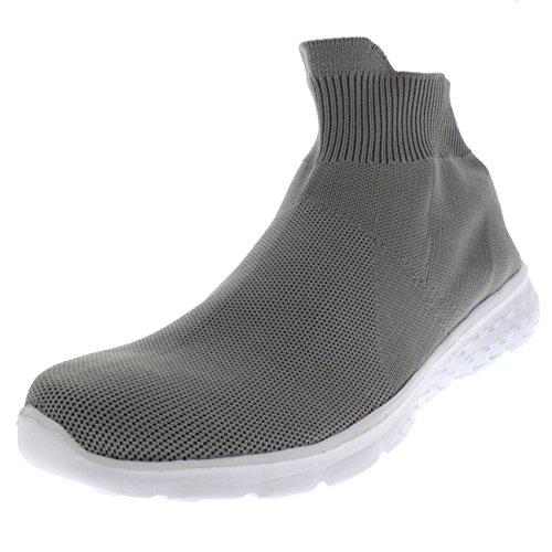 Mens Sock Halka På Gång Sport Kör Prime Sticka Lätta Sneakers Grå