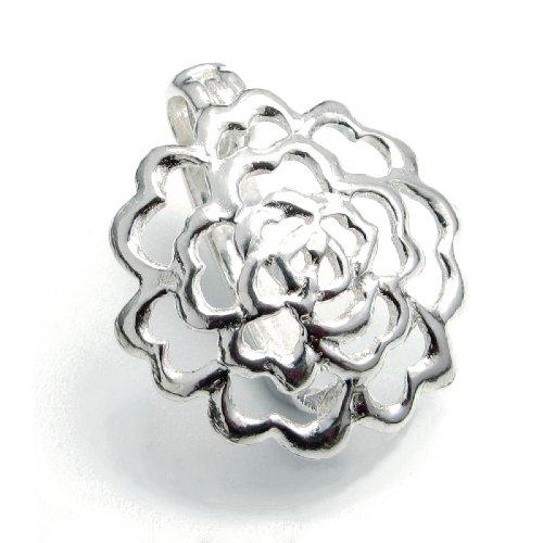 Charm Enhancer - Dreambell .925 Sterling Silver Flower Donut Holder Changeable Slide Charm Pendant Connector Bail Clasp