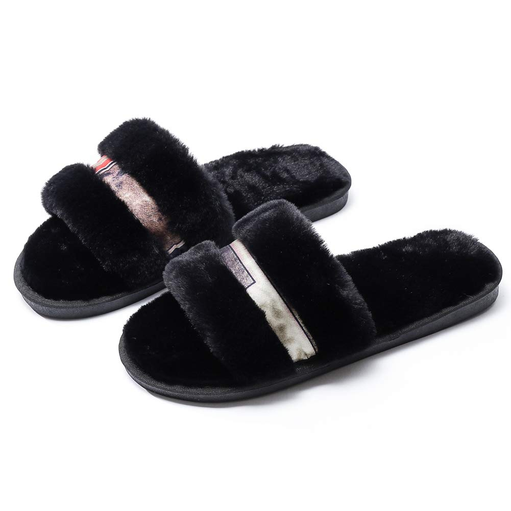 Aimiy Womens Chic House Slippers Fur Slippers//Womens Soft Fleece Indoor Non-Slip House Flip-Flops Slippers