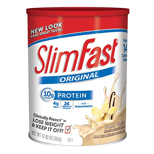 Slim Fast Original weight loss Meal Replacement shake mix powder with 10g of protein and 4g of fiber plus 24 Vitamins and Minerals per serving, French Vanilla,  Pack of 3