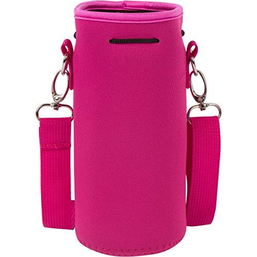 Neoprene Water Bottle Carrier Holder (32 Ounces or 1-1.5 Liter) w/Adjustable Shoulder Strap - Protect Your Containers from Damage - Cover Glass Bottles - Dog Bottle Carrier by Made Easy Kit (Pink)