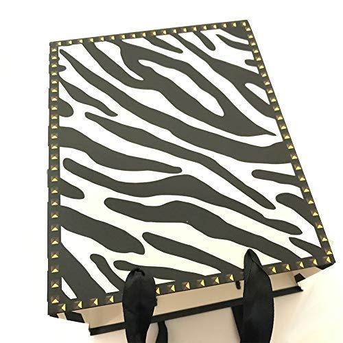 12PCS Zebra Print Paper Bags with Tissue Paper(Medium) -
