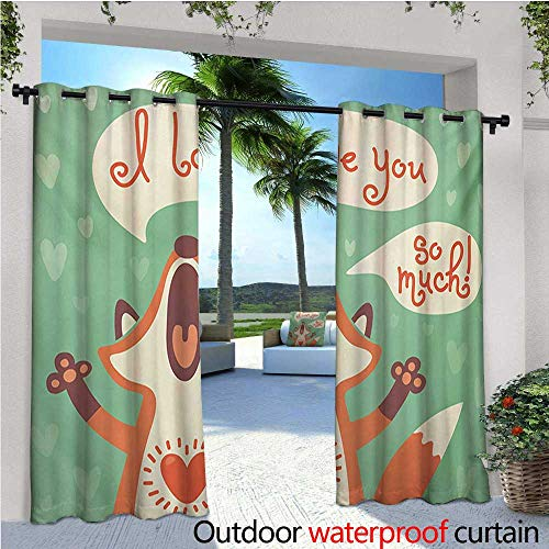 Lifestyle Outdoor Privacy Curtain for Pergola I Love You So Much Fox Humor Romance Birthday Valentines Celebration Print Thermal Insulated Water Repellent Drape for Balcony W84 x L96 Mint Green Gin