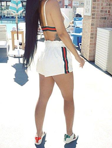 Due Donne Pin Up Hot Pants Top Suit Up Scollo Coulisse Crop Estivo Push V Moda con Bianca Pezzi Reggiseni Bustier dYqxwt