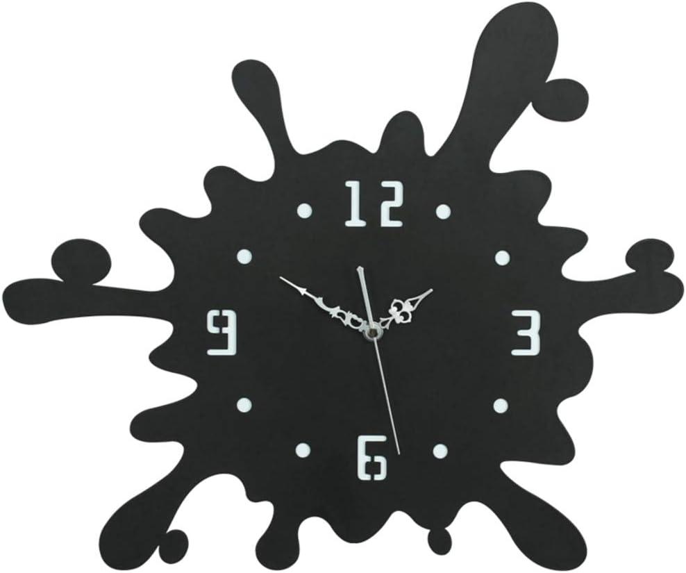 HM&DX Metal Wall Clock No Ticking, Water Drop Splash Decorative Hanging Clock Silent Battery Operated Clocks Living Room-Black