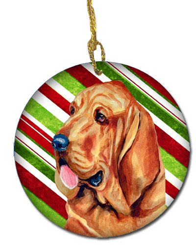 Multicolor Carolines Treasures LH9241-CO1 Bloodhound Candy Cane Holiday Christmas Ceramic Ornament