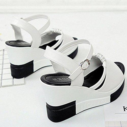 Saingace Damen Sommer Peep-Toe High Schuhe Römische Sandalen Flip Flops Weiß