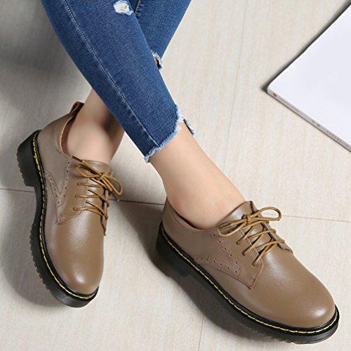Femme Chaussures Kaki Bateau Chaussures Sculpté Yiiquan Lacets Brogues Cuir Loisirs Flats Classique PU 1wAndpxgq