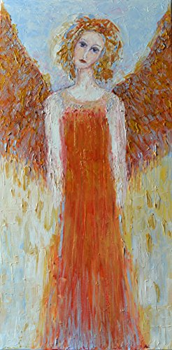 Angel Artwork on CANVAS Painting Wings Red and White Gold Silver Wall Art for Living Room Guardian Christmas Original Oil Art 16x32 Decorative by SmartPolonia