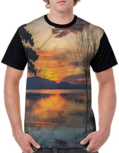 BlountDecor Loose T Shirt,Rural Path Between Fields Fashion Personality Customization