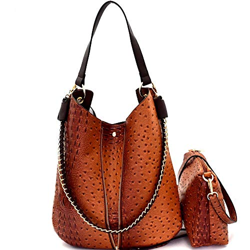 Chain Accent Vegan Leather Ostrich Embossed 2 in 1 Expendable Hobo Bag Purse Crossbody - Embossed Hobo Handbag