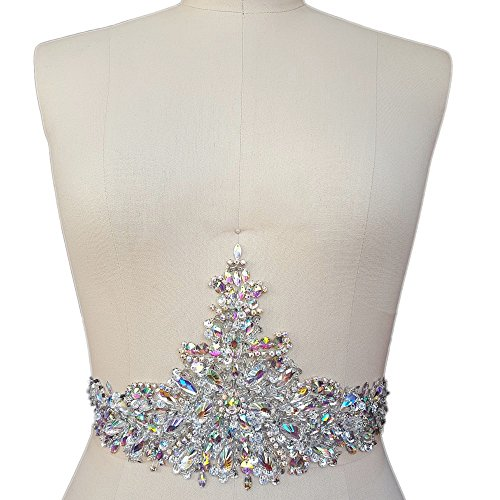 New Exquisite Pure Handmade AB Colour Bright Crystal Patches Sewon Rhinestones Applique with Stones Sequins Beads for Wedding Dress DIY Manual Accessories Belt Waist Decoration 18x39cm AB